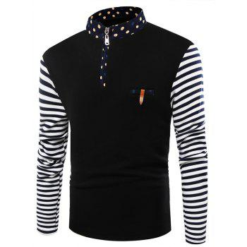 Stand Collar Pocket Striped Flocking Half Zip T-Shirt
