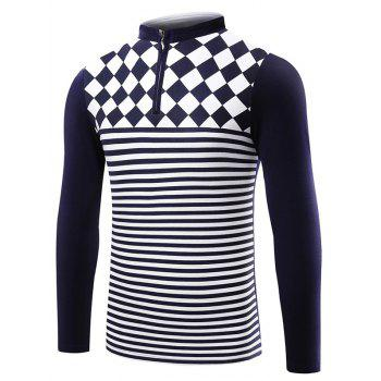 Striped Stand Collar Half Zip T-Shirt