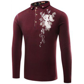 Floral Embroidered Buttoned Polo T-Shirt