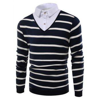 Striped Faux Twinset Shirt Collar Knitwear