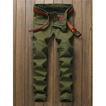 Zippered Pocket Rivet Panel Straight Pants