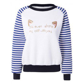 Ear Letter Stripe Raglan Sweatshirt