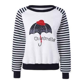 Umbrella Embroidery Raglan Stripe Sweatshirt