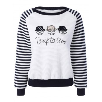 Glasses Hat Embroidery Stripe Raglan Sweatshirt
