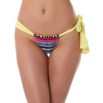 Geometric Print String Thongs - YELLOW XL