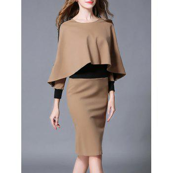 Revisable Color Block Fitted Dress With Cape
