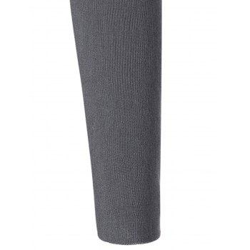 Tulle Insert Long Sleeve Knit Dress - GRAY ONE SIZE