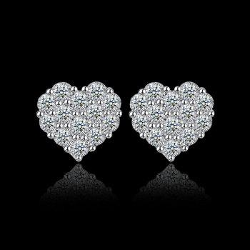 Heart Rhinestoned Stud Earrings
