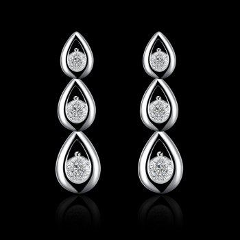 Layered Teardrop Rhinestone Earrings