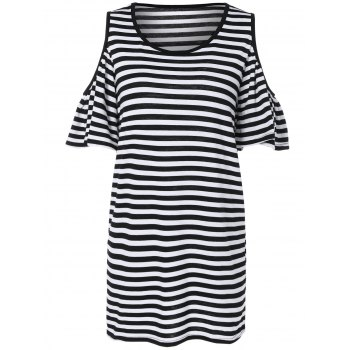 Scoop Neck Striped Cold Shoulder Dress