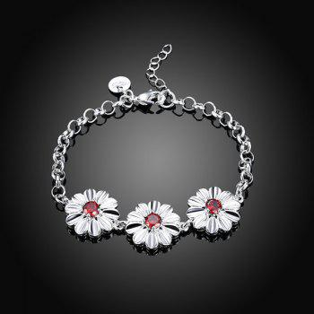 Faux Ruby Flower Bracelet