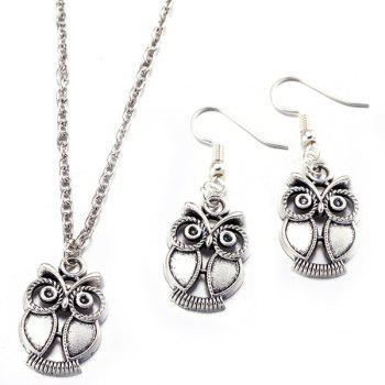Owl Necklace with Drop Earrings