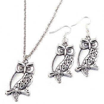 Branch Owl Necklace with Earrings