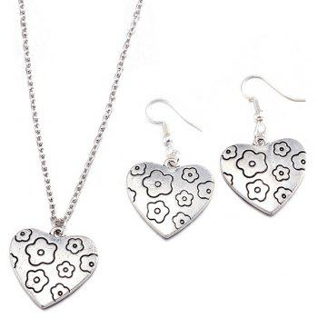 Heart Engraved Flower Necklace and Earrings