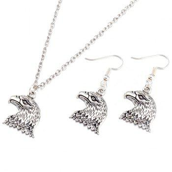 Alloy Eagle Head Necklace and Earrings