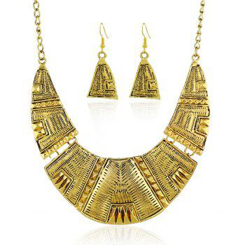 Engraved Geometric Pendant Necklace and Earrings