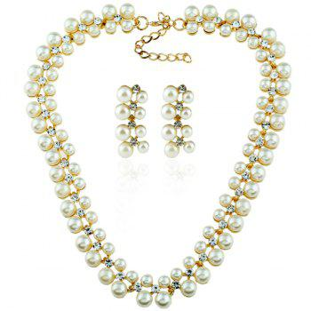 Artificial Pearl Rhinestoned Necklace with Earrings