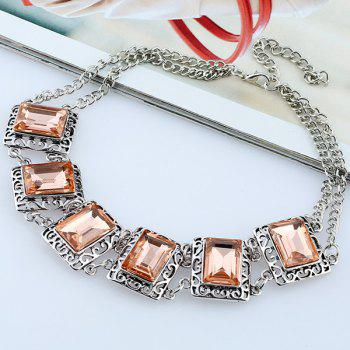 Alloy Fake Gemstone Necklace - COFFEE