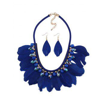 Artificial Gem Feather Necklace and Earrings