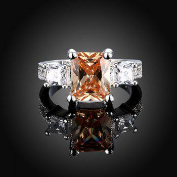 Square Artificial Gemstone Finger Ring