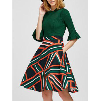 Bell Sleeve Knitwear and Striped Skirt Twinset - GREEN M