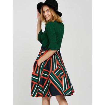 Bell Sleeve Knitwear and Striped Skirt Twinset - M M