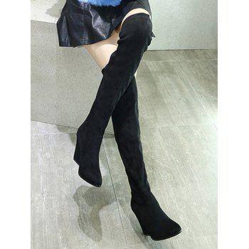 Thigh High Pointed Toe Chunky Heel Boots - 38 38