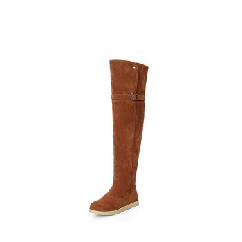 Thigh High Buckle Strap Flat Heel Boots - 38 38
