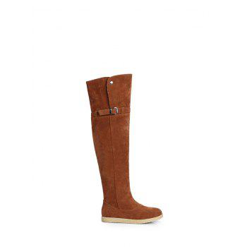 Thigh High Buckle Strap Flat Heel Boots - BROWN 38