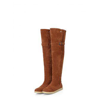 Thigh High Buckle Strap Flat Heel Boots - BROWN BROWN