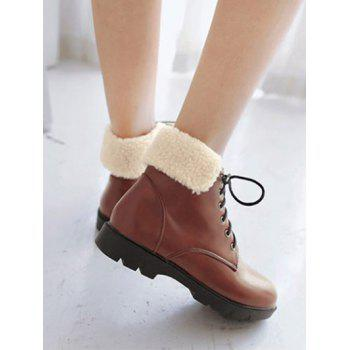 Faux Shearling Insert Lace Up Short Boots - 38 38