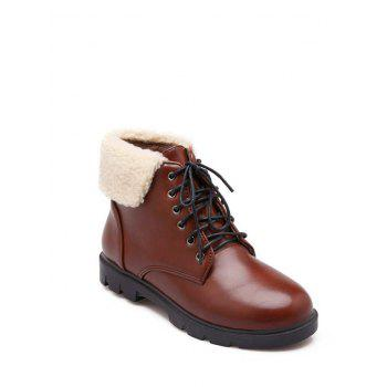 Faux Shearling Insert Lace Up Short Boots - BROWN BROWN