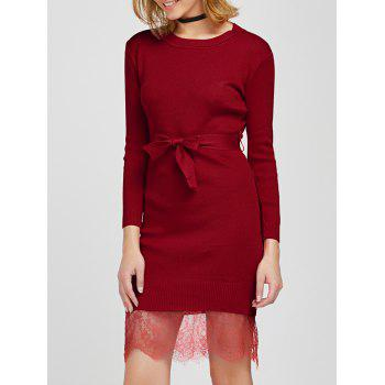 Eyelash Lace Insert Sweater Dress