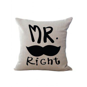 Letter Mr Right Linen Chair Backrest Throw Pillowcase