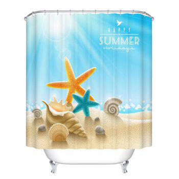 Waterproof Starfish Shell Printed Bathroom Shower Curtain