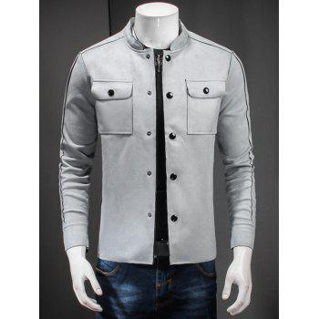 Stand Collar Single Breasted Double Pockets Jacket