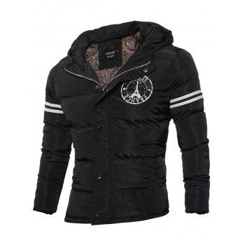 Zip Up Hooded Iron Tower Print Qulited Jacket