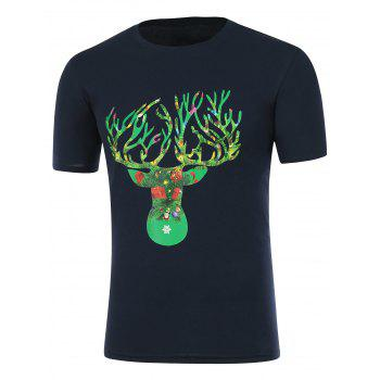 Short Sleeve Deer Horn Graphic Christmas T-Shirt