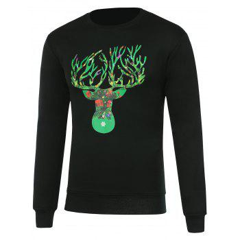 Crew Neck Deer Horn Print Christmas Sweatshirt
