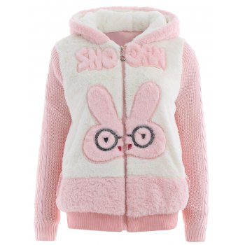 Bunny Head Hooded Fuzzy Coat