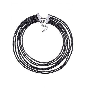 Layered Artificial Leather Rope Choker Necklace