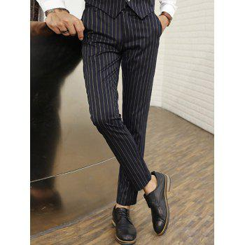 Vertical Stripe Zipper Fly Straight Leg Pants