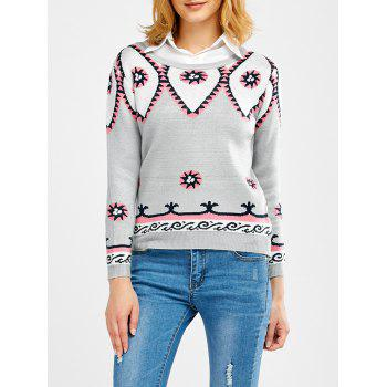Round Neck Geometric Pattern Sweater