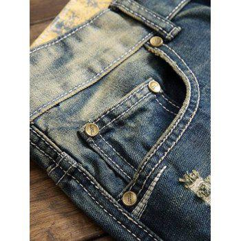 Zipper Fly Straight Leg Embroidery Distressed Jeans - BLUE 30