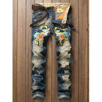 Zipper Fly Straight Leg Embroidery Distressed Jeans - BLUE BLUE