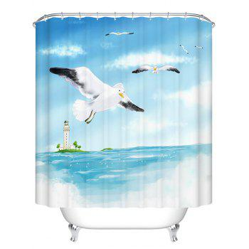 Sea Gull Polyester Waterproof Bathroom Shower Curtain
