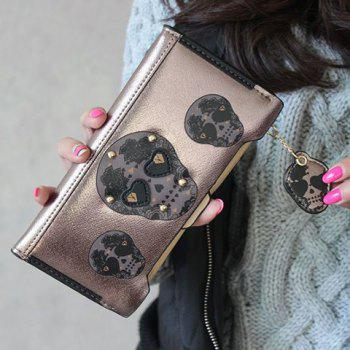Skull Clutch Wallet With Removable Compartment