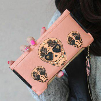 Skull Clutch Wallet With Removable Compartment - PINK PINK