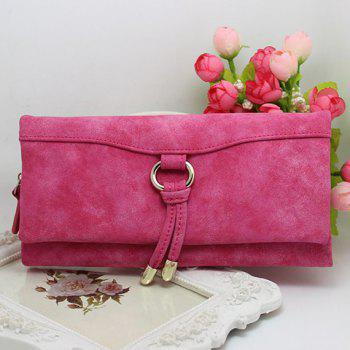 Metal PU Leather Wallet -  ROSE RED