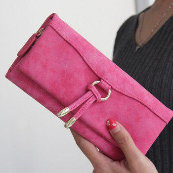 Metal PU Leather Wallet - ROSE RED ROSE RED